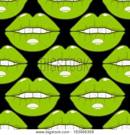 Vector seamless pattern orange cute lips sexy female. Color lips on black background. St.Valentine card