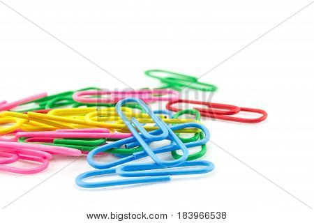 Pile Of Color Clips On White Background