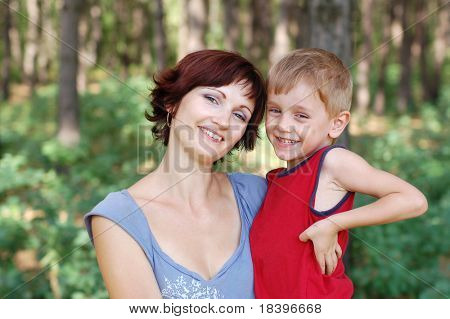 happy mother and boy