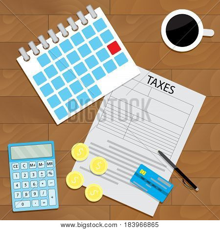 Personal tax form. Illustration account financial vector