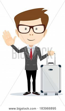 Elegant businessman with suitcase outside airport, before work travel. Stock flat vector illustration.