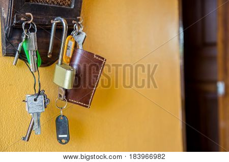 Door house keys hanging on hooks on a wall.