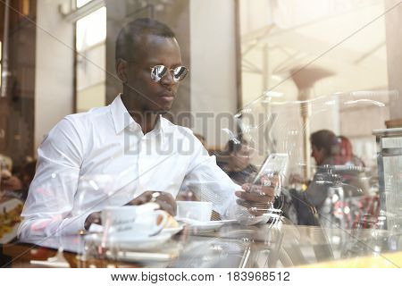 Bussinesspeople, Modern Urban Lifestyle And Technologies. Handsome Confident African American Busine
