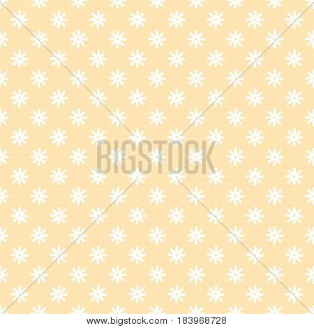Flower stitches vector seamless pattern, geometric abstract background of yellow and white color. Modern simple line ornament. Cute sunny and tender texture for baby fabric.