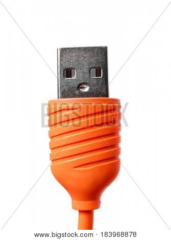 Orange Micro usb cable. Usb isolated on white background