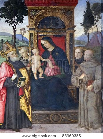 ROME, ITALY - SEPTEMBER 02: The fresco Madonna with the child and saints by Aiuto del Pinturicchio in Basso della Rovere chapel in Church of Santa Maria del Popolo, Rome, Italy on September 02, 2016.