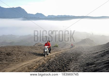 People Driving Motorcycles On Mt.bromo National Park, Indonesia