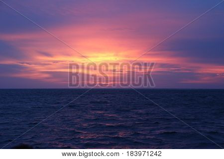 Sunset in the middle of Indian ocean.