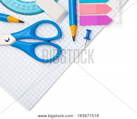 School supplies isolated on white background. Copy space. Top view