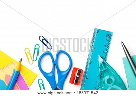 School or office supplies isolated on white background. Copy space. Top view