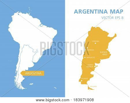 Maps of Argentina and South America. Vector illustration isolated on background. Template for design, cover, website, infographics