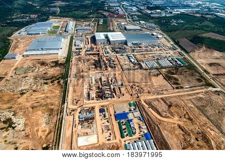 Industrial estate land development construction and residential area aerial view