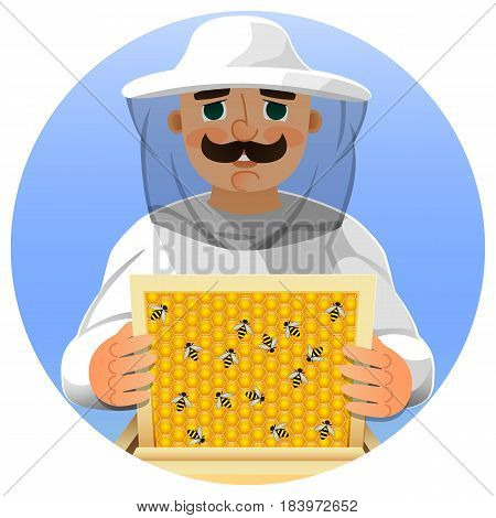 Beekeeper in a white suit. Portrait of a man in a beekeeper suit with a honeycomb frame in his hands. Vector illustration.