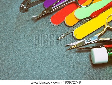 Manicure tools with copy space. Toned image