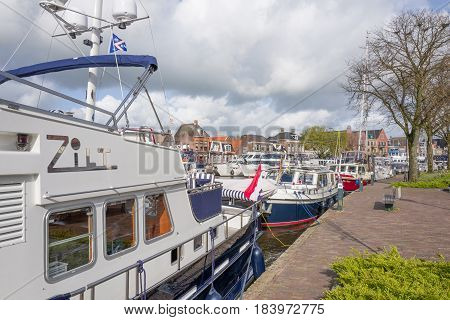 NETHERLANDS - LEMMER - MEDIA APRIL 2017: Pleasure yachts and sail boats in the port of Lemmer in Friesland Netherlands.