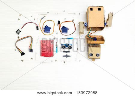 Robot with hands and robotics parts and elements.