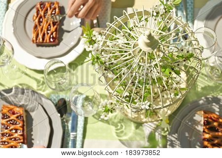 Decorative cage with blooming branch on served table