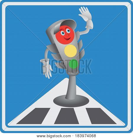 Traffic light. Red light. Emblem, icon. Road sign for children. Design for printing on fabric or paper, illustration for the book about the rules of the road.