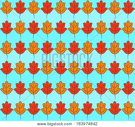 Colorful pattern of orange and yellow stylized fall leaves on light blue striped background. Vector seamless repeat.