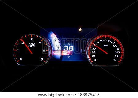 Modern Light Car Mileage On Black Rpm And 38 Mph