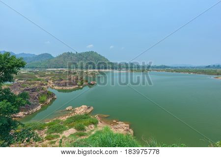 Landscape of Mekong river with blue sky at Thailand