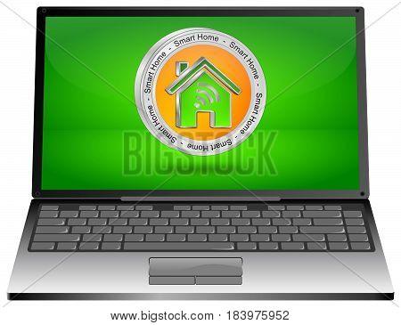 Laptop computer with orange Smart Home Button - 3D illustration