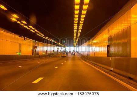 Tunnel on the autobahn roads of Germany.