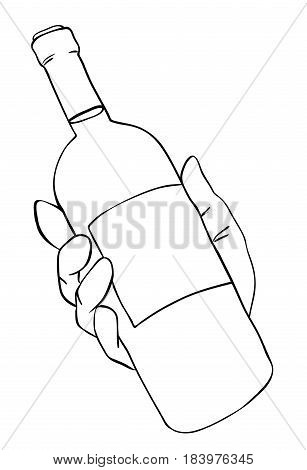 Cartoon image of hand holding bottle of wine. An artistic freehand picture.