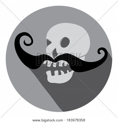 Vector skull picture with black swirling mustache/ Fashion sentence