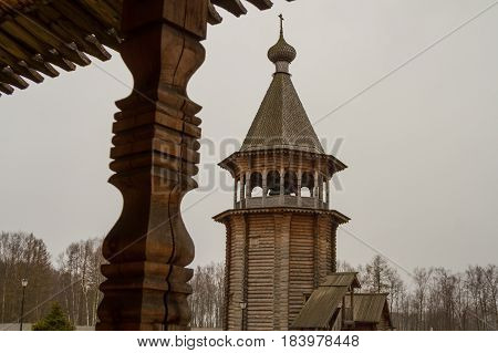 St. Petersburg-04.24.2017: Pokrovsky courtyard with an active Orthodox church