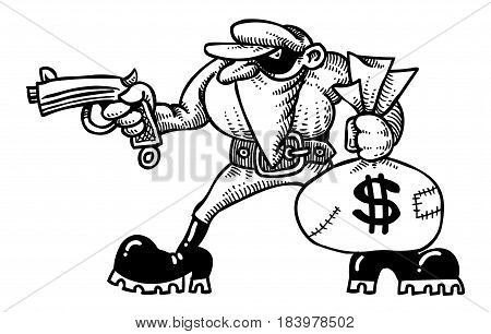 Cartoon image of burglar with loot bag. An artistic freehand picture.