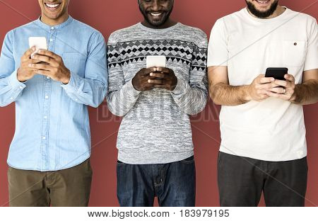 Happiness group of men smiling and connected by mobile phone