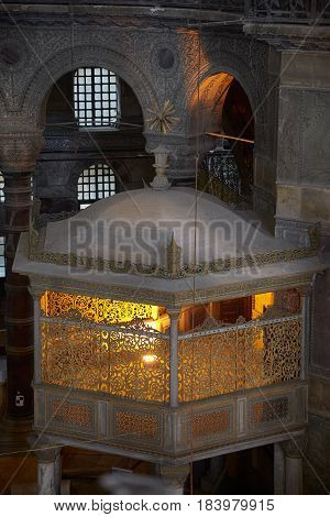 A New Sultan's Lodge In The Interior Of Hagia Sophia, Istanbul