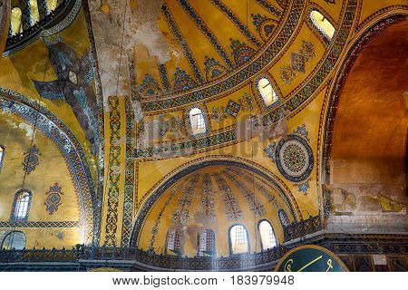 The Interior Of Hagia Sophia Dome With Picture Of Hexapterygon, Istanbul