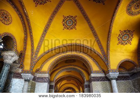 Ceiling Decoration With Original Christian Cross In The Interior Of The Hagia Sophia. Istanbul