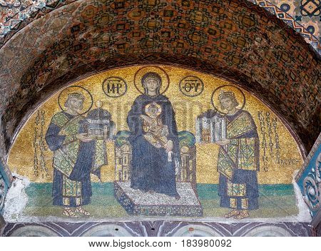 The Mosaic: Virgin With Child Flanked By Justinian I And Constantine I, Istanbul