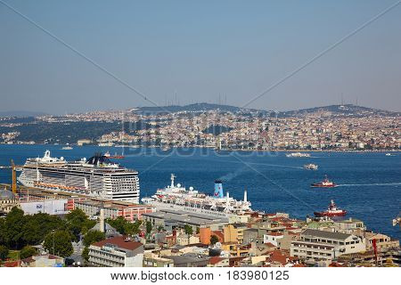 The View From Galata Tower To Bosphorus Strait, Istanbul