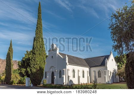 MONTAGU SOUTH AFRICA - MARCH 26 2017: The historic mission Church built 1907 in Montagu a town in the Western Cape Province