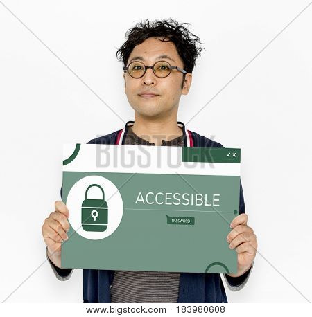 Man holding banner with illustration of computer security system