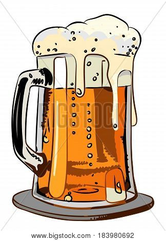 Cartoon image of foamy beer. An artistic freehand picture.
