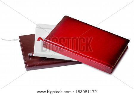 White and red diary on white background isolation