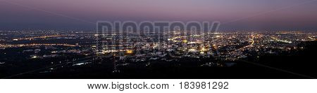 chiang mai night view on view point of doi suthep chiang mai thailand Panorama