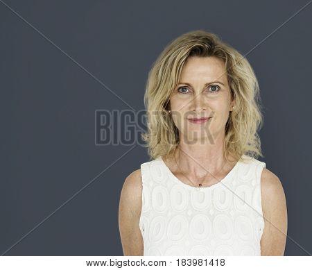 Caucasian blonde woman in a studio shoot