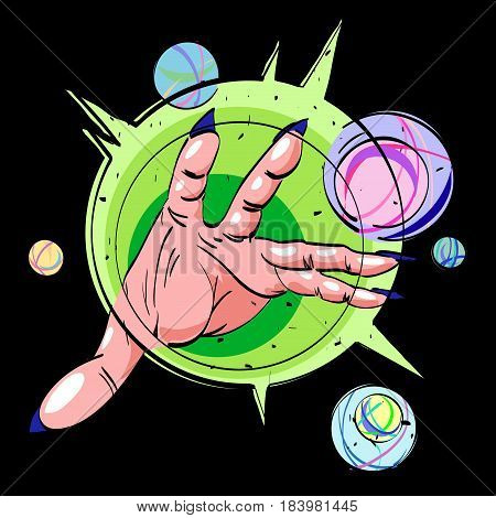 Cartoon image of hand casting spell. An artistic freehand picture.