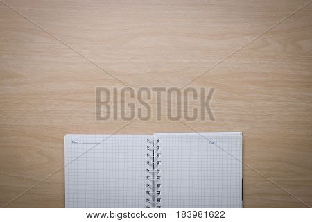 Top View Notebook On The Desk