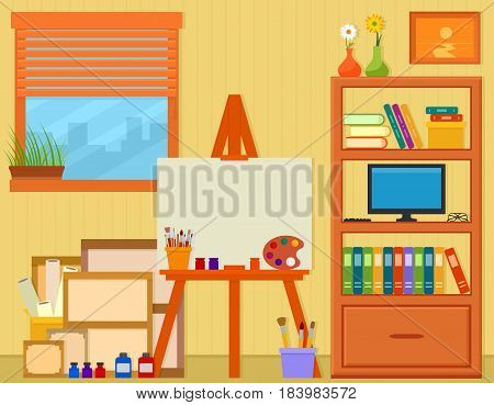 home art studio with easel and painting tools with room interior on flat design