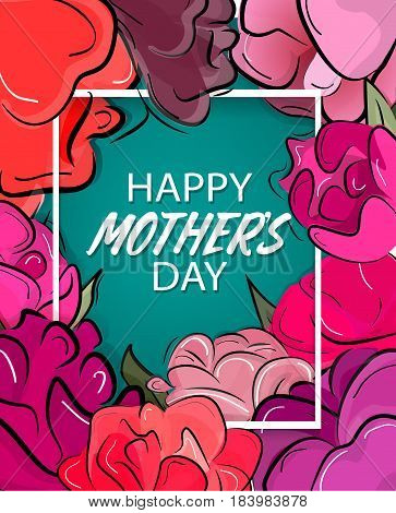 Happy Mother's Day card. Vector flower art. Spring poster with flowers template. Abstract holiday invitation banner. Mom greeting decoration print