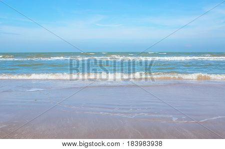 Sea wave foam on Karon beach Phuket Thailand. Exotic paradise of Thailand beach Asia. Peaceful ocean wave at beach. Perfect resort for relax. Ocean wave. Sea waves on beach