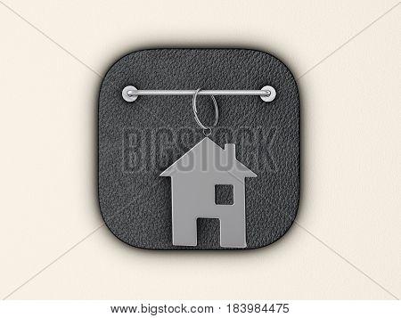 House symbol keyring on wall. 3d illustration.