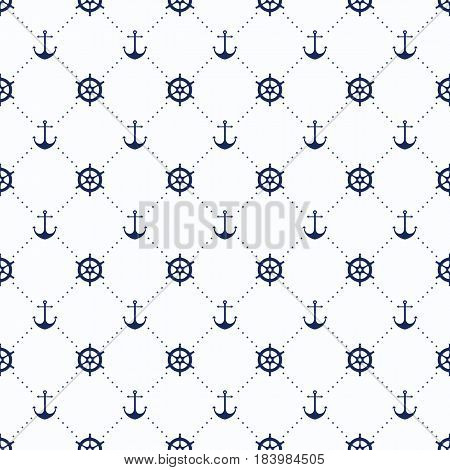 Vector Sea And Nautical Seamless Pattern. Vintage Old Marine Print Abstract Textile With Steering Wh
